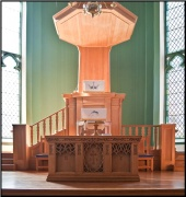 View of the pulpit with sounding board