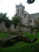 View of the remains of the monks dorter and the abbey parish church from the southeast. Image: Amanda Gow (August 2007)  Image ID: 1642_12.JPG