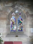 1997 stained glass window in the southern transept inspired by the life of Sandy Dunn and the history of Culross. Image: Amanda Gow (August 2007).  Image ID: 1642_32.JPG