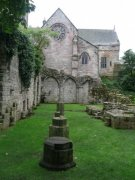 View looking to the north of the east range of the cloister, where the chapter house would have been located. Image: Amanda Gow (August 2007)  Image ID: 1642_11.JPG