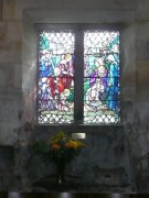 Two leaf window in south wall showing baptismal scene. Image: Amanda Gow (August 2007)  Image ID: 2142_21.JPG