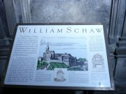 Information board about William Schaw, north aisle, west end, abbey church from south. Image: Amanda Gow (November 2007)  Image ID: 2260_221.JPG