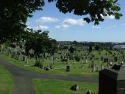 View of the newer section of the cemetery to the south and east of the church. Image: James Sinclair (August 2007)  Image ID: 3799_27.JPG