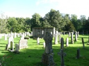 View of graveyard and old church, from north west