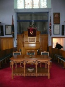 The communion table and pulpit from the south