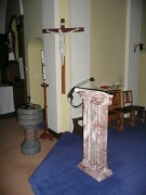 Lectern and font from north west