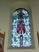Stained glass window in east elevation