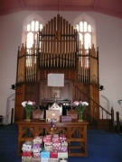 View of the pulpit and pipe organ