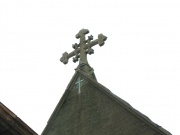 View of the finial at the east end of the church