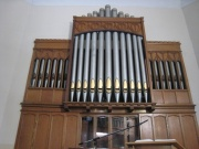 View of the pipe organ