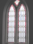 Coloured glass windows, south wall