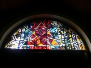 Stained glass window above entrance