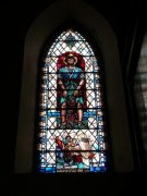 Stained glass window depicting St. Andrew in Cellardyke Church