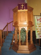 The large wooden pulpit