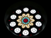 Rose window in east gable