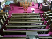 View of pews from gallery
