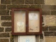 Notice board for the parish church hall, which is the current use of the building. Image: Kirsty Owen (June 2007)  Image ID: s9497_04.JPG